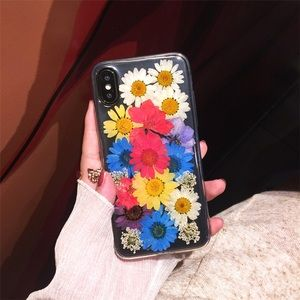 Hand Pressed Multi Color Flower iPhone Case